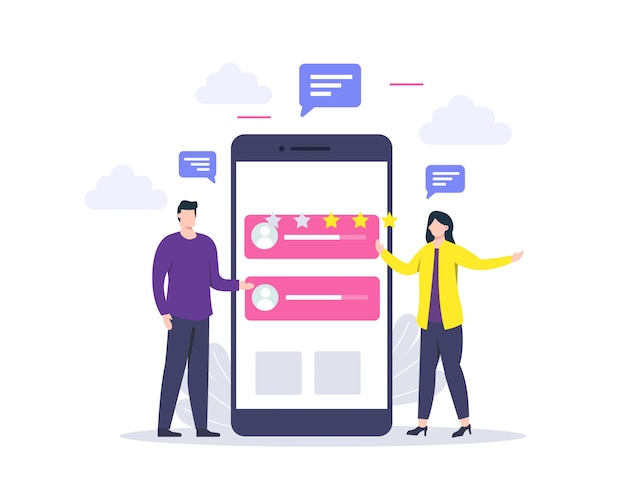 Отзывы клиентов или концепция обзора и оценка онлайн-услуг, довольные клиенты