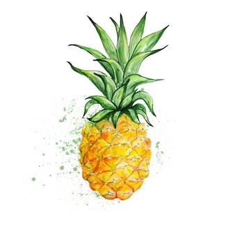 Акварель желтый ананас с листьями
