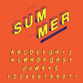 Летний стиль шрифта поп-арт дизайн