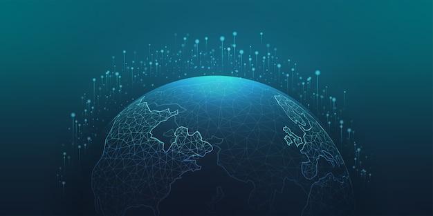 グローバルネットワーク接続。世界の技術を表す世界地図のポイント、ライン、構成。