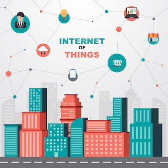 Интернет вещей концепции. умный город и сеть беспроводной связи.