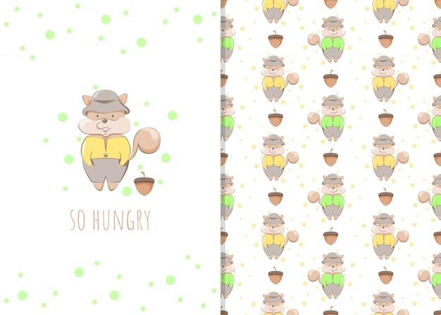 Симпатичная маленькая белка мультипликационный персонаж, иллюстрации и бесшовные модели для детей