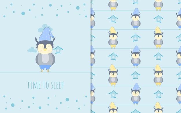 Очаровательны маленькая сова мультипликационный персонаж, иллюстрации и бесшовные модели