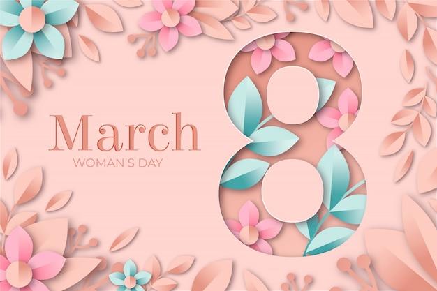 Женский день фон в бумажном стиле. женский день фон с цветком и листьями.