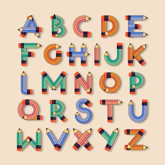 Плоский детский школьный шрифт. английский шрифт