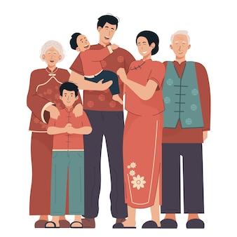 伝統的な服で幸せな中国の家族の肖像画。祖父母、親子