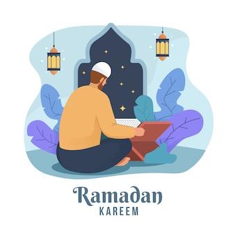 聖クルアーンを読むイスラム教徒の男性。ラマダンカリームフラット漫画イラスト