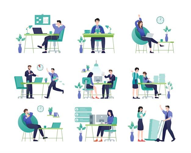 ビジネスマンやビジネスウーマン、さまざまな行動と活動