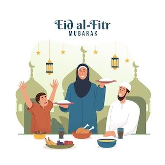 Мусульманская мама подает еду на семейный ужин. ид мубарак плоский мультипликационный персонаж иллюстрации