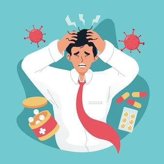 Бизнесмен чувствует себя больным и усталым. разочарованный молодой человек