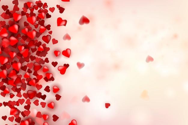 バレンタインデーのバナー。心でロマンチックな組成物。