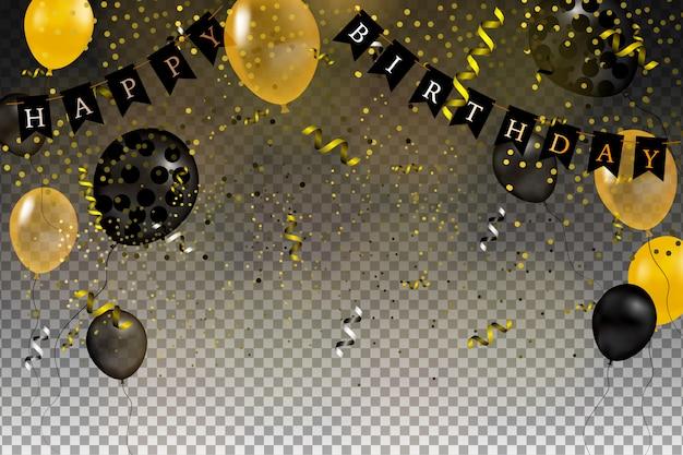 Набор золотых, черных, желтых, белых гелиевых шариков, изолированных в воздухе. празднование фон шаблон с шарами, конфетти и ленты на прозрачном фоне. иллюстрации.