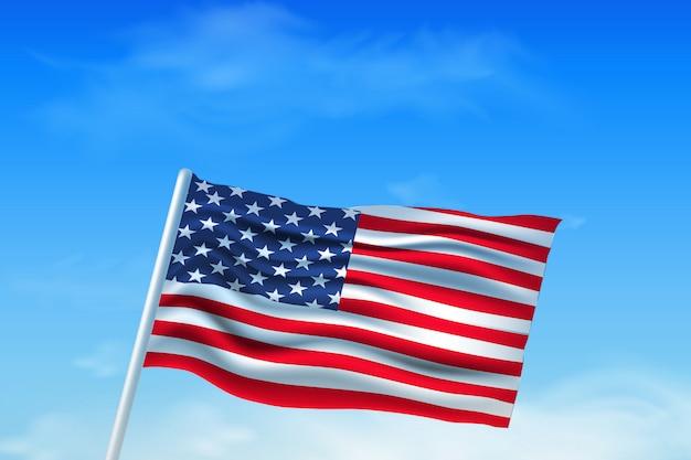 独立記念日。空を背景にアメリカの国旗。手でテンプレートの背景には、国旗の色、星条旗、ポスター、バナー、チラシ、パンフレットでアメリカの国旗が描かれています。