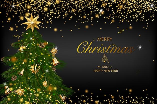 Рождественская открытка с композицией из праздничных элементов, таких как золотая звезда, ягоды, украшения для елки, сосновые ветки. веселого рождества и счастливого нового года. блеск украшения, золото