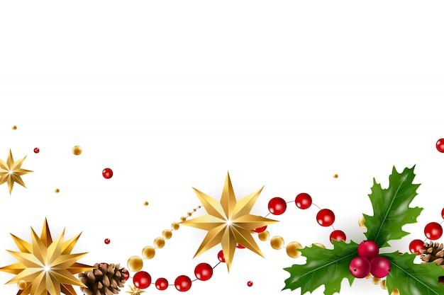 Новогодний фон с композицией праздничных элементов, таких как золотая звезда, ягоды, украшения для елки, сосновые ветки. шикарная рождественская открытка. веселого рождества и счастливого нового года.