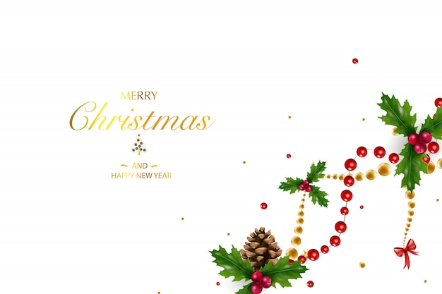 Новогодний фон с композицией праздничных элементов, таких как золотая звезда, ягоды, украшения для елки, сосновые ветки. шикарный новогодний фон. веселого рождества и счастливого нового года.