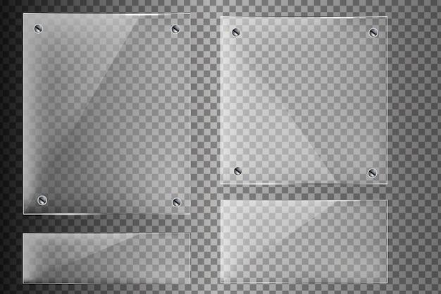 Стеклянные баннеры на прозрачном фоне. прозрачная стеклянная витрина на прозрачном фоне.