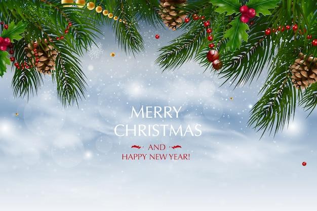 Новогодний фон с композицией праздничных элементов, таких как золотая звезда, ягоды, украшения для елки, сосновые ветки. веселого рождества и счастливого нового года