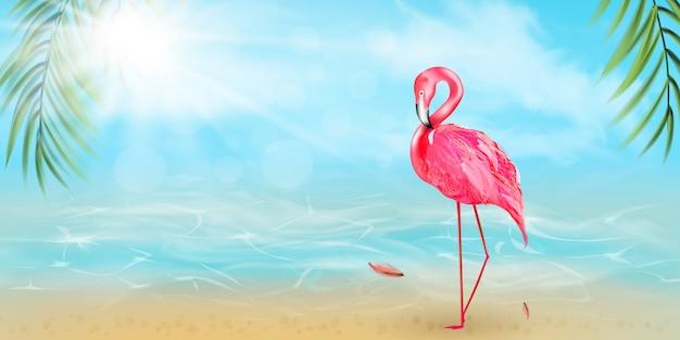 ピンクのフラミンゴ、水彩の水しぶき、カラフルなペイントが値下がりしました。美しいイラスト。こんにちは夏カード-イラスト