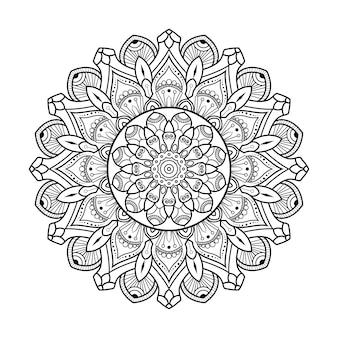 Круглый узор черно-белые цветочные декоративные наброски мандалы для раскраски страниц книги