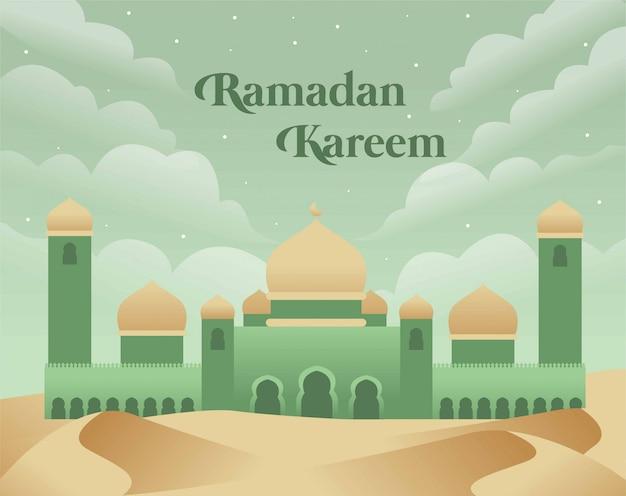 緑のトーンのモスクとラマダンカリームの背景