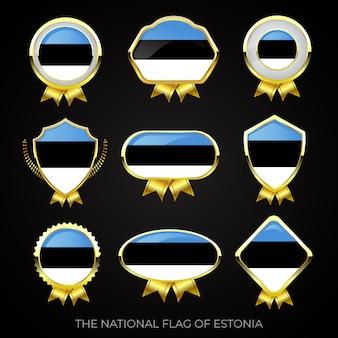 Коллекция роскошных значков с золотым флагом эстонии