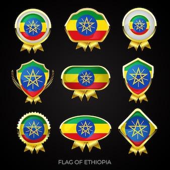 Коллекция роскошных значков с золотым флагом эфиопии
