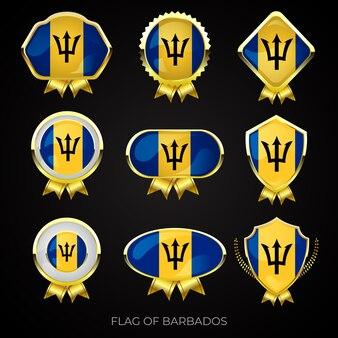 バルバドスの高級ゴールデンフラグバッジのコレクション