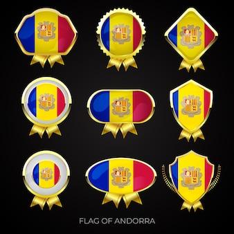 Коллекция роскошных золотых значков с флагом андорры