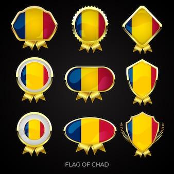 Коллекция роскошных значков с золотым флагом чада