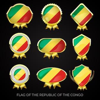 Коллекция роскошных значков с золотым флагом республики конго