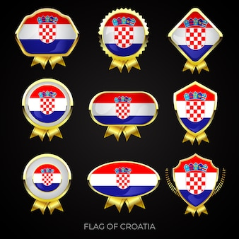 Коллекция роскошных значков с золотым флагом хорватии