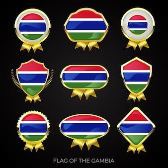 Коллекция роскошных значков с золотым флагом гамбии
