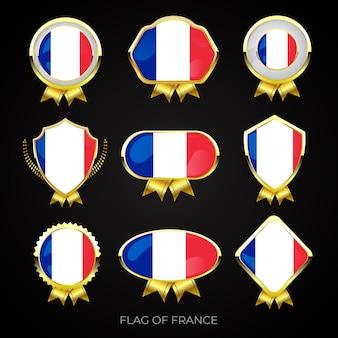 Коллекция роскошных значков с золотым флагом франции