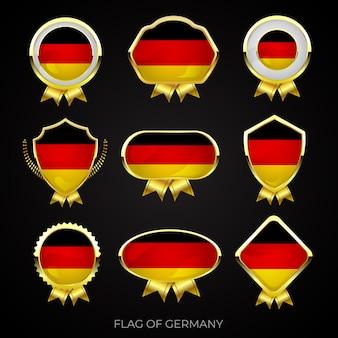 Коллекция роскошных значков с золотым флагом германии