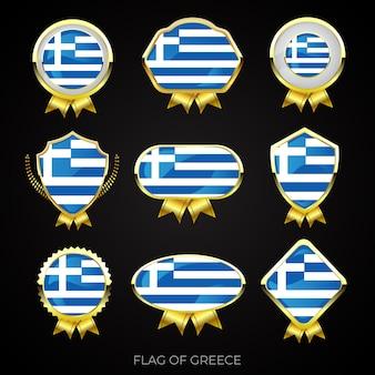 Коллекция роскошных значков с золотым флагом греции
