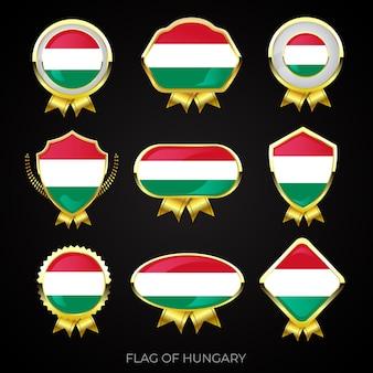 Коллекция роскошных значков с золотым флагом венгрии