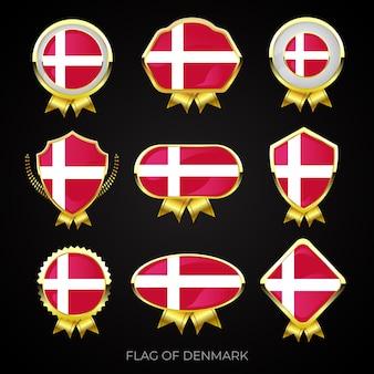 Коллекция роскошных значков с золотым флагом дании