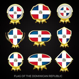 Коллекция роскошных значков с золотым флагом доминиканской республики