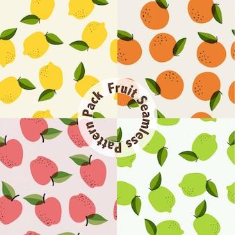 フルーツのシームレスパターンのパック