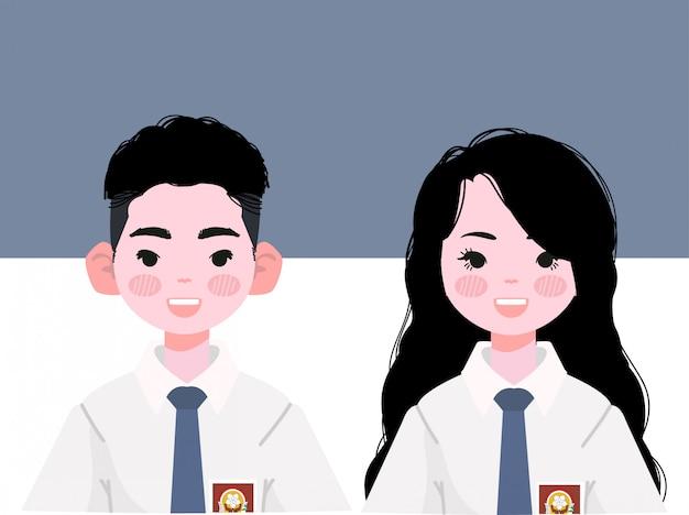 インドネシアの制服を着た高校生