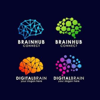 脳の接続ロゴのデザイン。デジタル脳ロゴテンプレート