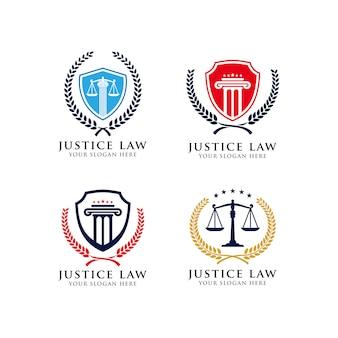 正義の法律のエンブレムのロゴデザインテンプレート