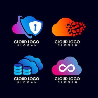 クラウドロゴデザイン。クラウドテクノロジーロゴアイコンシンボル