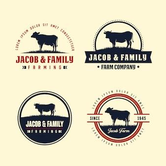ブラックアンガスのロゴデザインテンプレート。牛農場のロゴデザイン