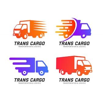 貨物配達サービスのロゴデザイン。トランス貨物ベクトルアイコンデザイン要素