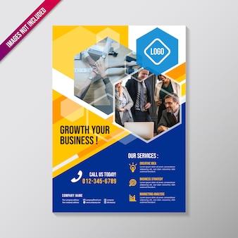 多角形の要素を持つ創造的なビジネスパンフレットのデザインテンプレート