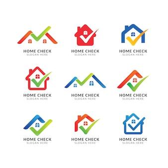チェックマークの付いたホームロゴのテンプレート。不動産業者のためのロゴ。ホームシンボルデザインをチェック