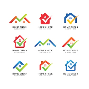 Шаблон логотипа дома с галочкой. логотип для агентства недвижимости. проверить дизайн дома символ
