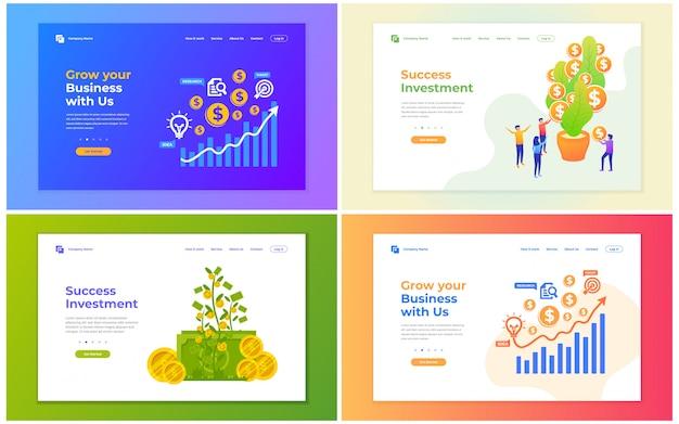 投資、金融、およびビジネス成長のベクトルイラスト。ウェブサイトおよび携帯サイト開発のための現代ベクトル図の概念。